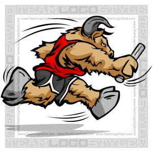 Running Buffalo Cartoon - Vector Clipart Image