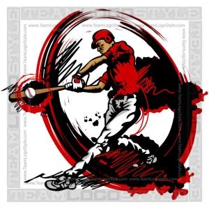 Baseball Player Logo - Vector Clipart Image