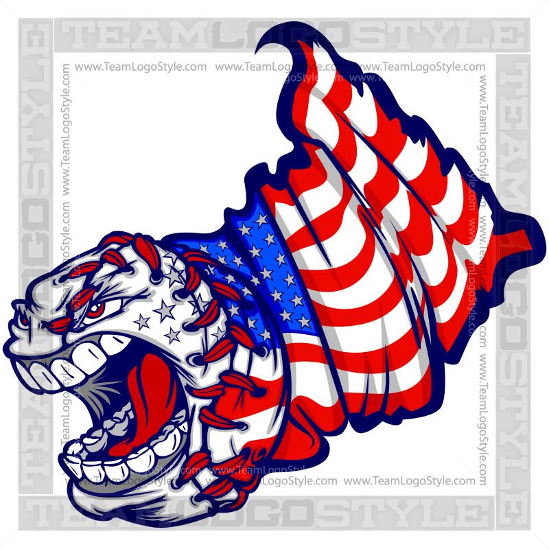American Flag Baseball Logo - Clip Art Baseball with Flag