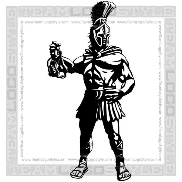 Spartan Wrestling Mascot Logo - Vector Clipart Graphic