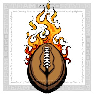 Flaming Football Art Vector Clipart Image