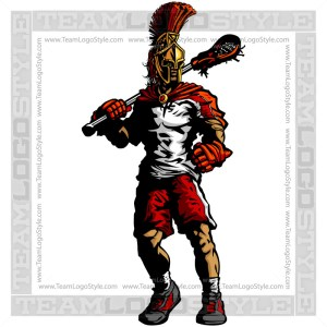 Spartan Lacrosse Silhouette Vector Clipart Image