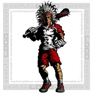 Warrior Lacrosse Silhouette - Indian Warrior Clipart Image