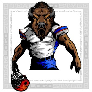Buffalo Football Clipart Vector Mascot Image