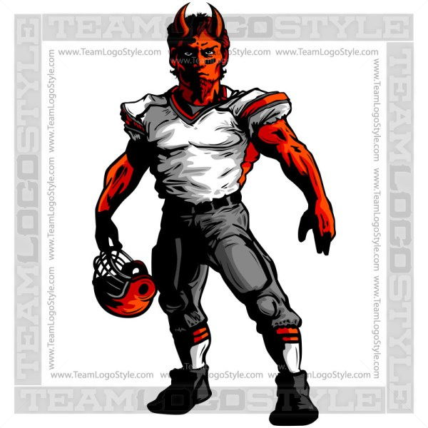 Demon Football Clipart Vector Mascot Image
