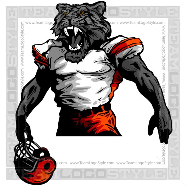Panther Football Clipart Vector Mascot Image