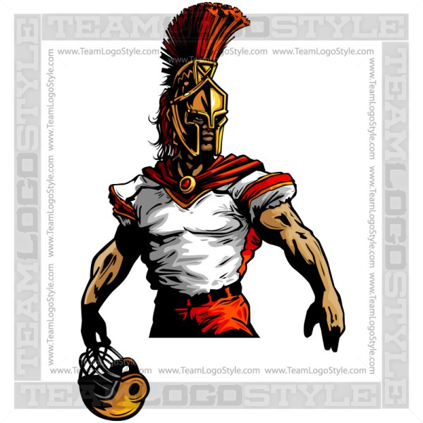 Spartan Football Clipart Vector Mascot Image