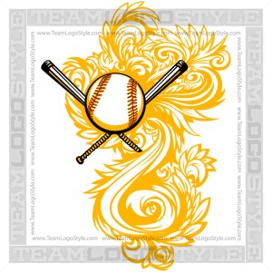 Softball Flourish Logo Clipart Ornate Design