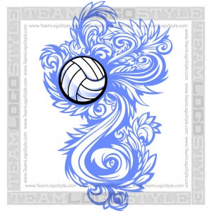 Volleyball Flourish Logo Clipart Ornate Design