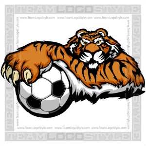 Tiger Soccer Graphic - Vector Clipart Image