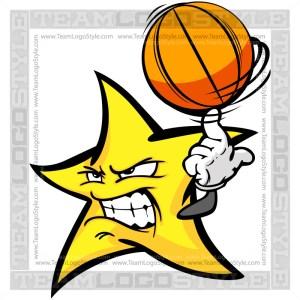 Stars Basketball Logo - Vector Clipart Image