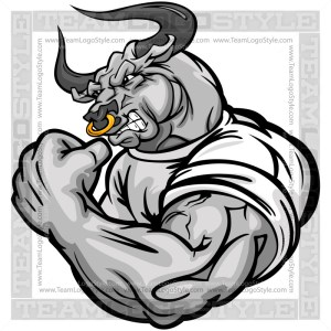 Muscular Bull Cartoon Vector Art