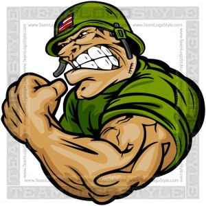 Strong Army Soldier Cartoon Vector Art