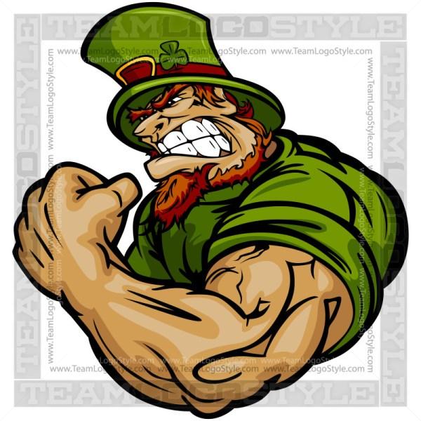 Strong Leprechaun Cartoon Vector Art