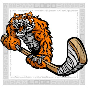 Tiger Hockey Player with Stick