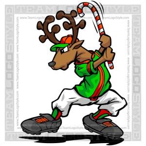 Christmas Baseball Reindeer Clipart Image