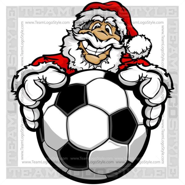 Santa Claus Holding Soccer Ball Clipart Image