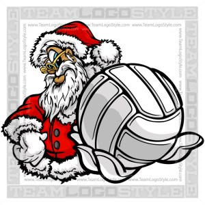 Santa Claus Holding Volleyball Clipart Image
