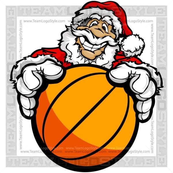Santa Holding Basketball Cartoon Clipart Image