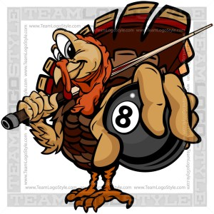 Turkey Holding Billiards Ball Clipart