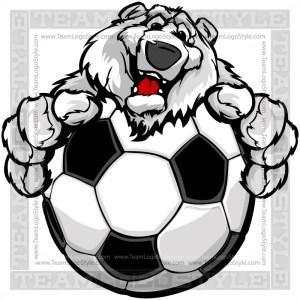 Cartoon Polar Bear Soccer Clipart Image