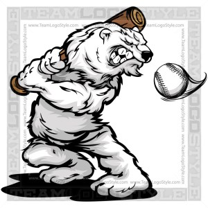 Polar Bear Swinging Baseball Bat Clipart Cartoon
