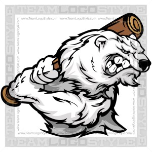 Polar Bear with Baseball Bat Clipart Cartoon