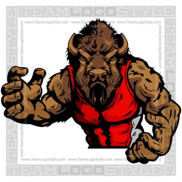 Buffalo Wrestler Vector Clip Art Image