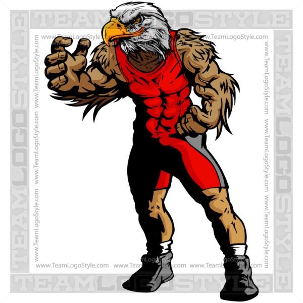 Eagle In Wrestling Pose Clip Art Image