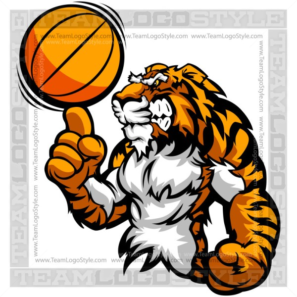 Cartoon Basketball Tiger Clipart Image