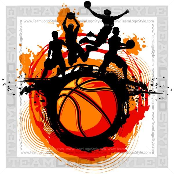 Basketball Design - Silhouette Clip Art Image
