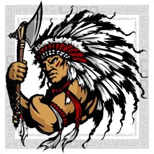 Indian Chief Clip Art - Vector Mascot Graphic
