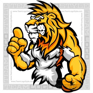 Cartoon Lion Clip Art - Wrestling Mascot