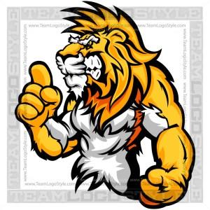 Cartoon Lion Clip Art - Wrestling Mascot