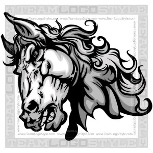 Bronco Head Clip Art - Vector Mascot Graphic