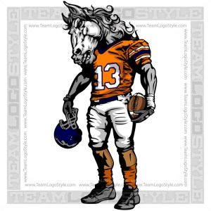 Stallion Football Mascot - Clip Art Image