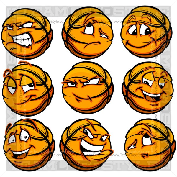 Cartoon Basketball Facial Expressions