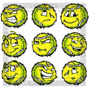 Cartoon Tennis Ball - Clip Art Image