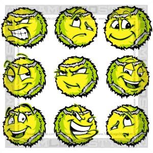 Cartoon Tennis Ball - Clip Art Image