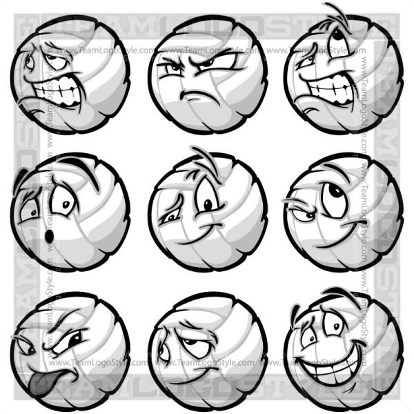 Happy Volleyball Clipart Cartoon