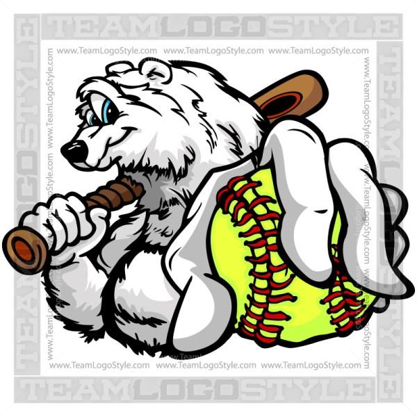 Clip Art Fastpitch Softball Polar Bear