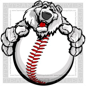 Happy Baseball Polar Bear Clip Art Image