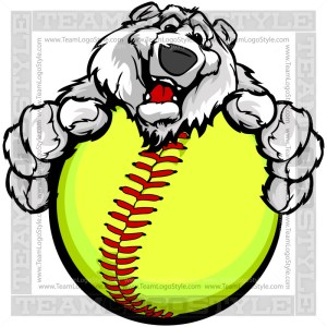 Happy Softball Polar Bear - Winter Clip Art