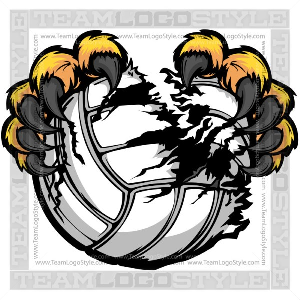 Clip Art Volleyball Lion Claws