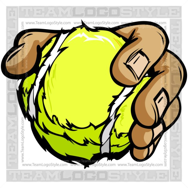 Hand Holding Tennis Ball Cartoon - Clip Art Image