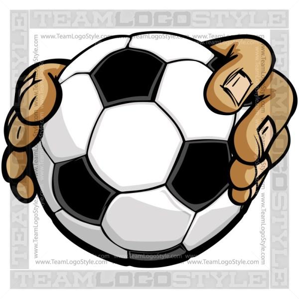 Hands Holding Soccer Ball Cartoon
