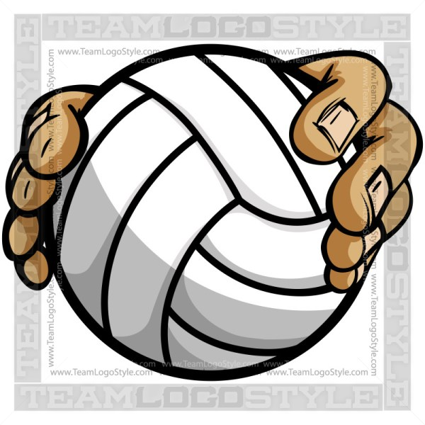 Hands Holding Volleyball Cartoon - Clip Art Image