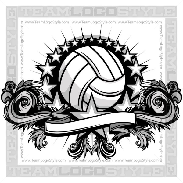 Volleyball with Stars Artwork