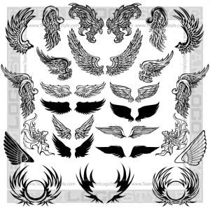 Wings Design Elements - T-Shirt Design Set