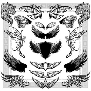 Clip Art Bird Wings - T-Shirt Design Set